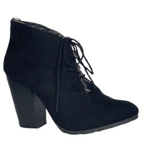 Leila Stone Black Suede Fax Fur Lined Ankle Boots